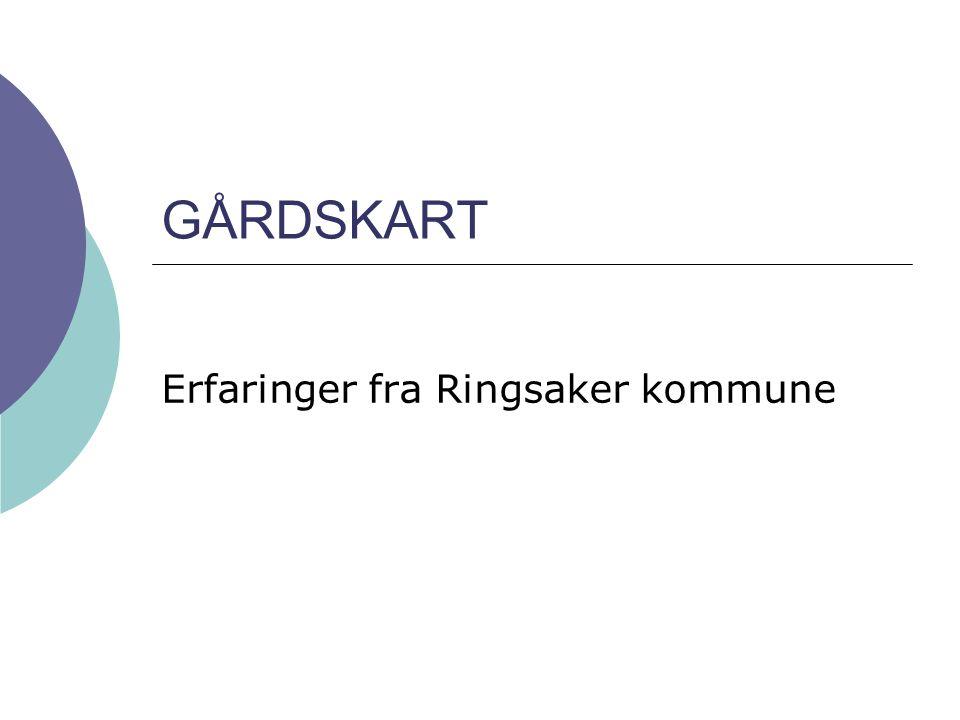 Gårdskart - erfaringer fra Ringsaker kommune2 Innledning  Mottok kart fra NIJOS i november 2004  Ortofoto fra 2001  1600 kart  Pressemelding  Info fra NIJOS og eget brev  Kartene ordnet i rekkefølge i A3 permer