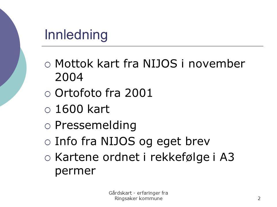 Gårdskart - erfaringer fra Ringsaker kommune2 Innledning  Mottok kart fra NIJOS i november 2004  Ortofoto fra 2001  1600 kart  Pressemelding  Inf
