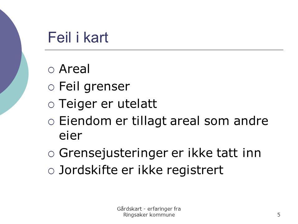 Gårdskart - erfaringer fra Ringsaker kommune5 Feil i kart  Areal  Feil grenser  Teiger er utelatt  Eiendom er tillagt areal som andre eier  Grens