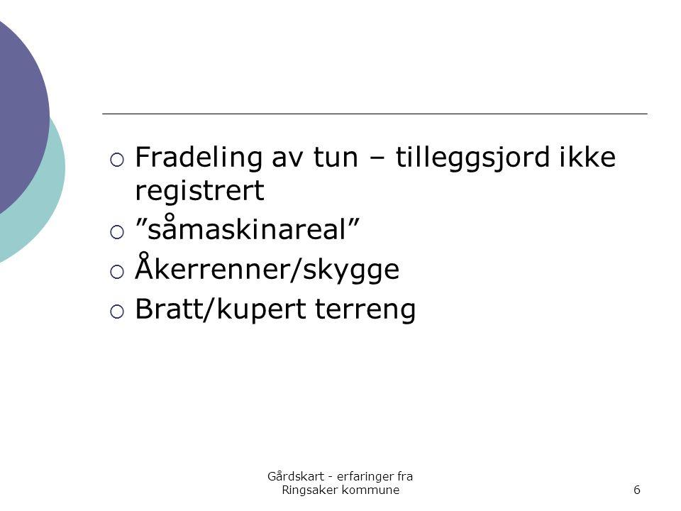 Gårdskart - erfaringer fra Ringsaker kommune6  Fradeling av tun – tilleggsjord ikke registrert  såmaskinareal  Åkerrenner/skygge  Bratt/kupert terreng