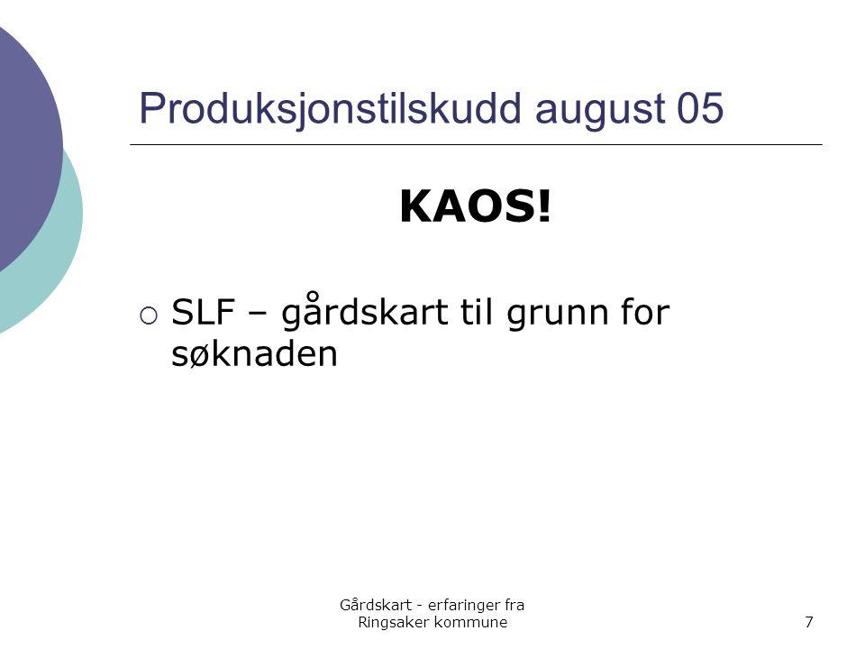 Gårdskart - erfaringer fra Ringsaker kommune7 Produksjonstilskudd august 05 KAOS!  SLF – gårdskart til grunn for søknaden