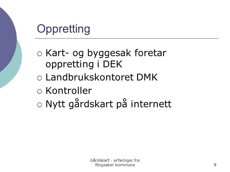 Gårdskart - erfaringer fra Ringsaker kommune8 Oppretting  Kart- og byggesak foretar oppretting i DEK  Landbrukskontoret DMK  Kontroller  Nytt gård