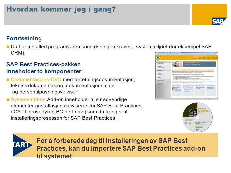 Hvordan kommer jeg i gang? Forutsetning  Du har installert programvaren som løsningen krever, i systemmiljøet (for eksempel SAP CRM). SAP Best Practi