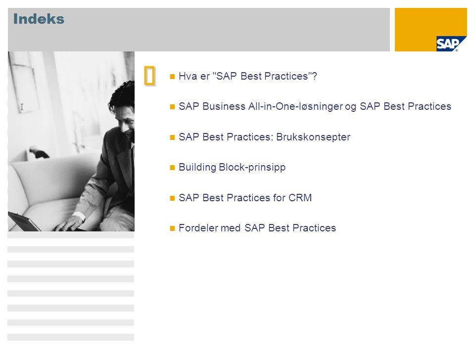 SAP Best Practices for CRM: funksjoner Kampanjestyring Inngående Lead Management Utgående Lead Management Aktivitets styring Salgsmulighets styring Telesalg inngående Telesalg utgående Internett salg B2C Internett salg B2B Utvidet kunde ordrebehandling Fleksibilit et Building block- tilnærming for modulær bruk av CRM-komponenter Generiske scenarier som enkelt kan kombineres til komplekse løsninger CRM Core Utvidet Core Kanaler Støttefaseorient ert CRM- utrulling Stort foretak Mellomstort foretak Lite foretak  Scenarioomfang tilpasset SMB-marked (forretningskrav og systemmiljø) Fokus BP CRM BP opprinnelig plan BP- bransje SAP CRM SAP BW SAP ERP  Prekonfigurert integrasjon med andre versjoner av SAP Best Practices  Integrasjon med andre SAP Business Suite-løsninger Integrasjon