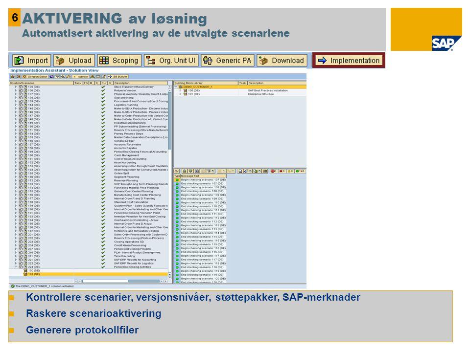  Kontrollere scenarier, versjonsnivåer, støttepakker, SAP-merknader  Raskere scenarioaktivering  Generere protokollfiler 6 AKTIVERING av løsning Au