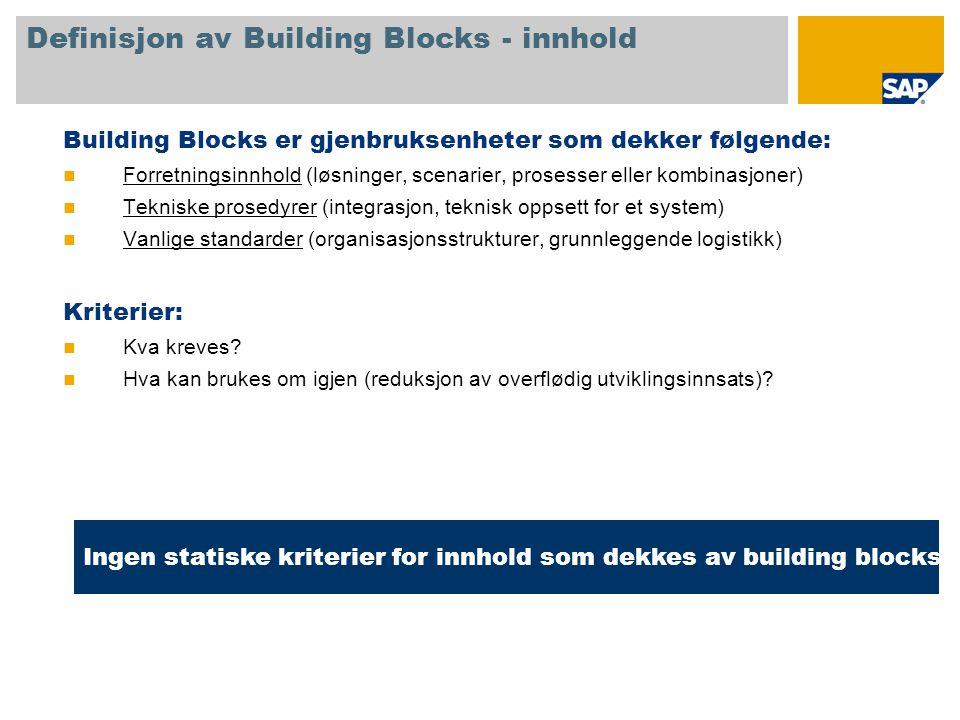 Definisjon av Building Blocks - innhold Building Blocks er gjenbruksenheter som dekker følgende:  Forretningsinnhold (løsninger, scenarier, prosesser