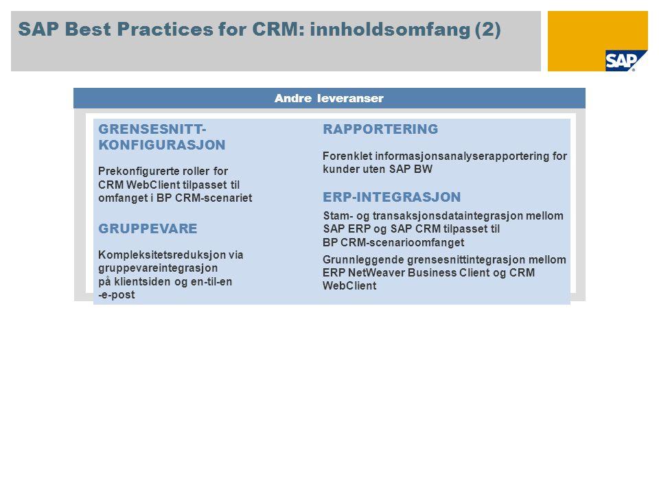 SAP Best Practices for CRM: innholdsomfang (2) Andre leveranser GRENSESNITT- KONFIGURASJON Prekonfigurerte roller for CRM WebClient tilpasset til omfa