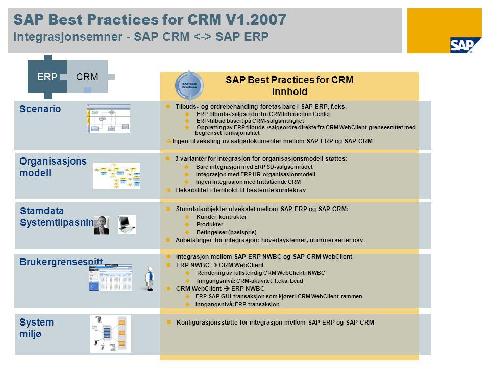 SAP Best Practices for CRM V1.2007 Integrasjonsemner - SAP CRM SAP ERP SAP Best Practices for CRM Innhold System miljø Brukergrensesnitt Organisasjons