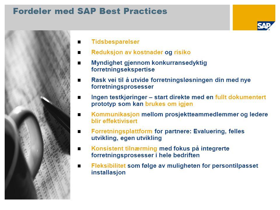 Fordeler med SAP Best Practices  Tidsbesparelser  Reduksjon av kostnader og risiko  Myndighet gjennom konkurransedyktig forretningsekspertise  Ras