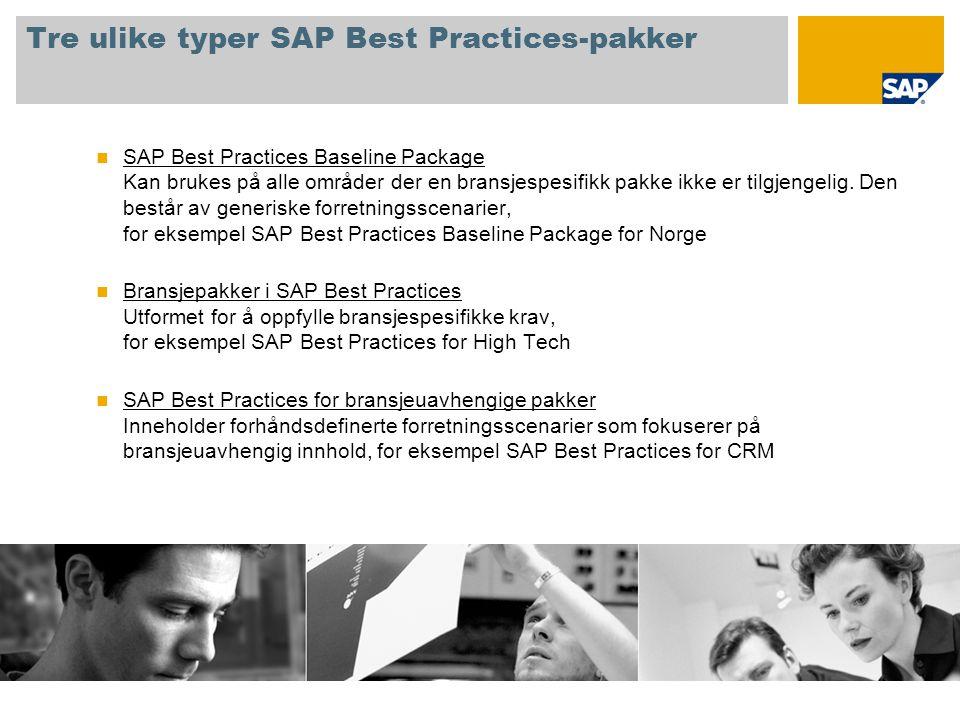 Tre ulike typer SAP Best Practices-pakker  SAP Best Practices Baseline Package Kan brukes på alle områder der en bransjespesifikk pakke ikke er tilgj