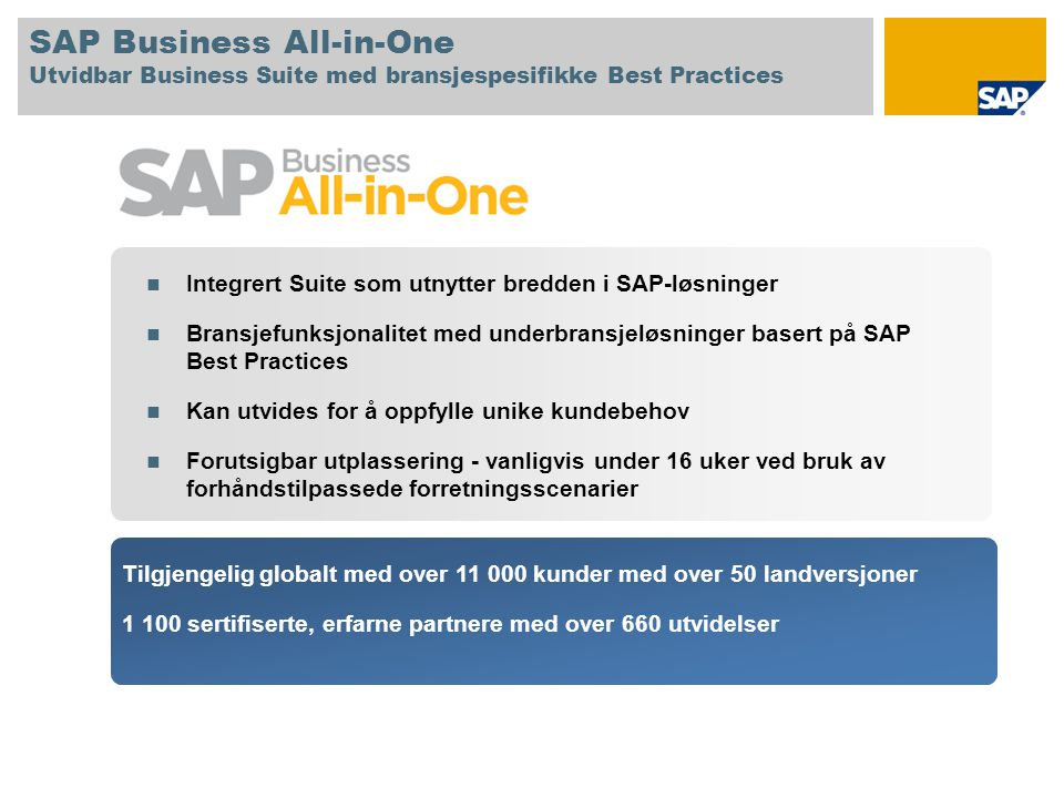 SAP Business All-in-One Utvidbar Business Suite med bransjespesifikke Best Practices  Integrert Suite som utnytter bredden i SAP-løsninger  Bransjef