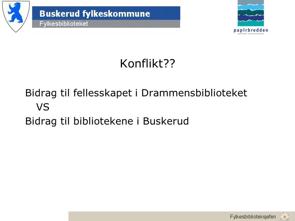 Konflikt Bidrag til fellesskapet i Drammensbiblioteket VS Bidrag til bibliotekene i Buskerud