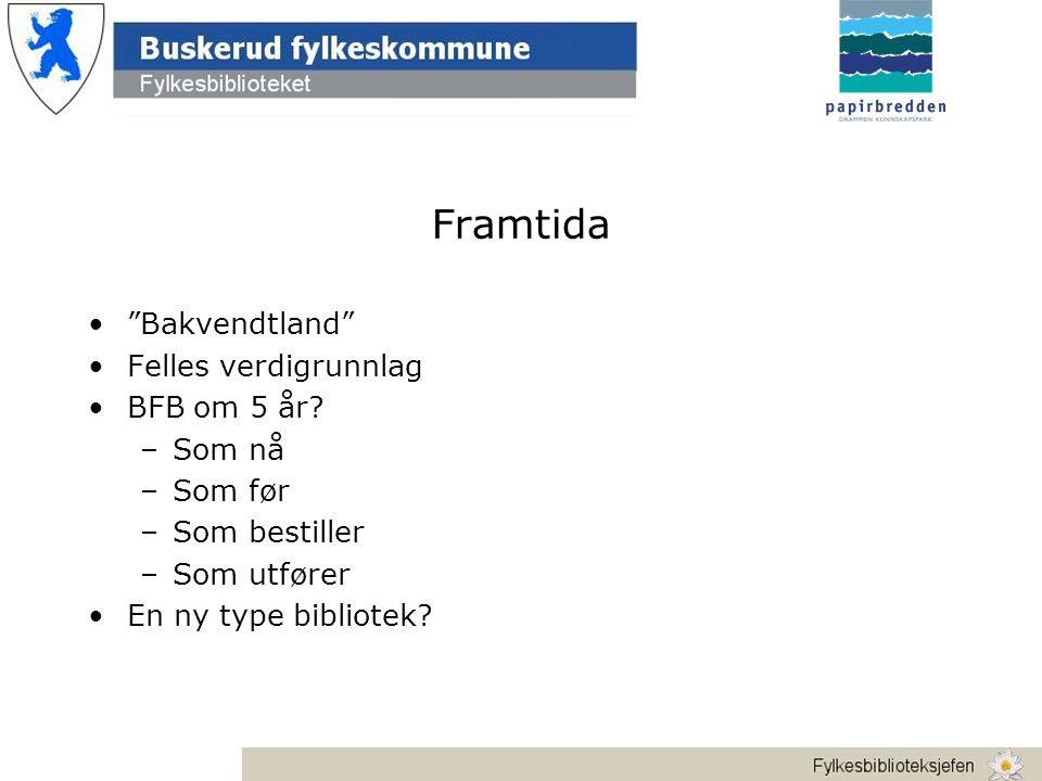 Framtida • Bakvendtland •Felles verdigrunnlag •BFB om 5 år.