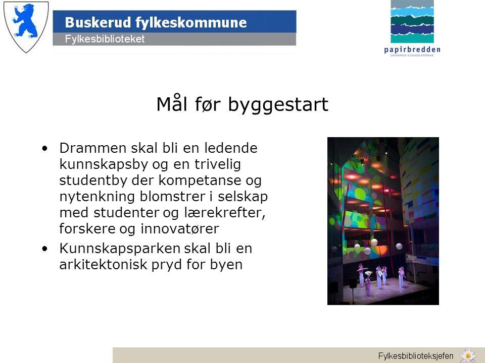 Mål før byggestart •Drammen skal bli en ledende kunnskapsby og en trivelig studentby der kompetanse og nytenkning blomstrer i selskap med studenter og lærekrefter, forskere og innovatører •Kunnskapsparken skal bli en arkitektonisk pryd for byen