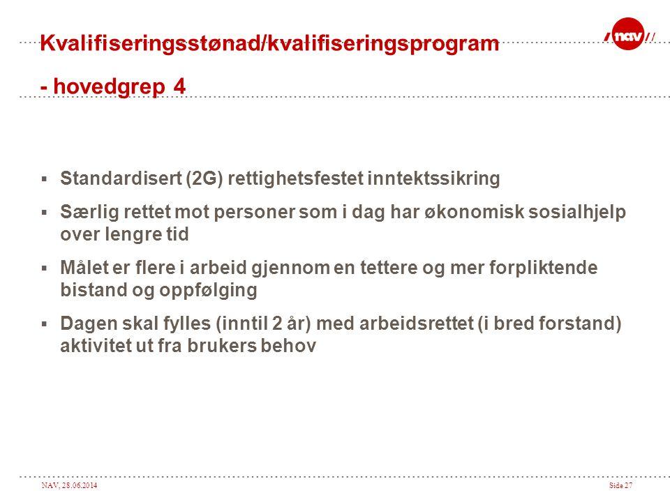 NAV, 28.06.2014Side 27 Kvalifiseringsstønad/kvalifiseringsprogram - hovedgrep 4  Standardisert (2G) rettighetsfestet inntektssikring  Særlig rettet