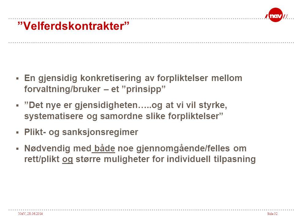 """NAV, 28.06.2014Side 32 """"Velferdskontrakter""""  En gjensidig konkretisering av forpliktelser mellom forvaltning/bruker – et """"prinsipp""""  """"Det nye er gje"""