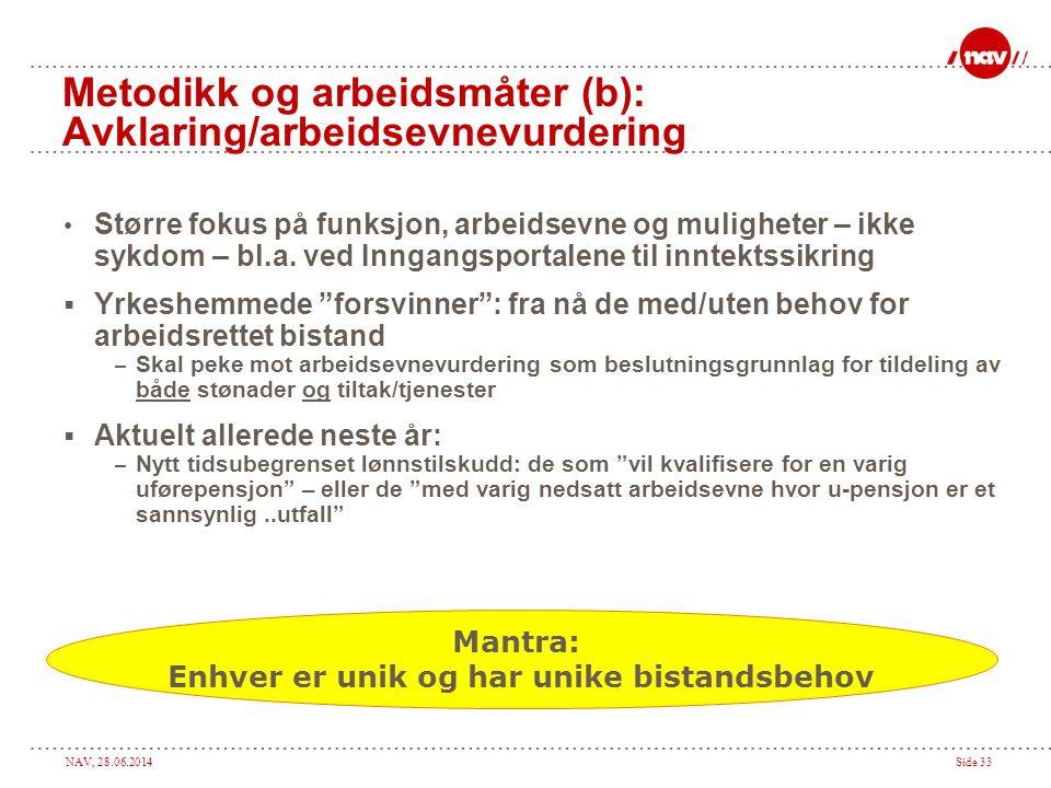 NAV, 28.06.2014Side 33 Metodikk og arbeidsmåter (b): Avklaring/arbeidsevnevurdering • Større fokus på funksjon, arbeidsevne og muligheter – ikke sykdo