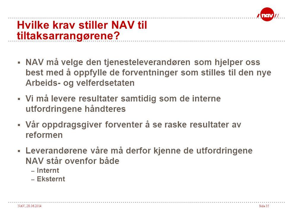 NAV, 28.06.2014Side 35 Hvilke krav stiller NAV til tiltaksarrangørene?  NAV må velge den tjenesteleverandøren som hjelper oss best med å oppfylle de