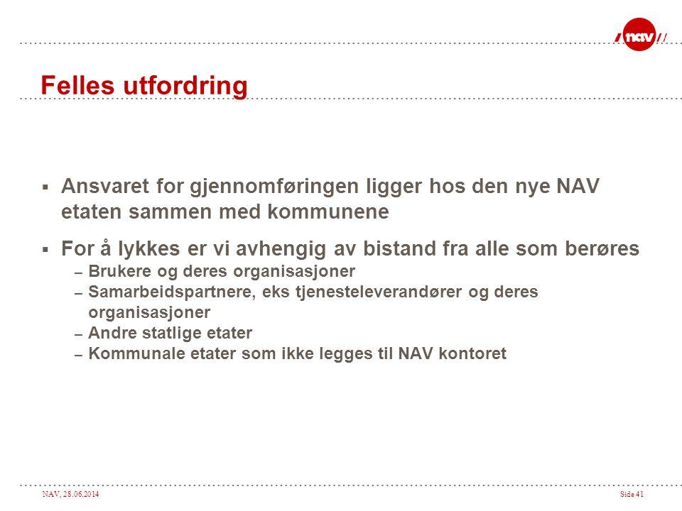 NAV, 28.06.2014Side 41 Felles utfordring  Ansvaret for gjennomføringen ligger hos den nye NAV etaten sammen med kommunene  For å lykkes er vi avheng
