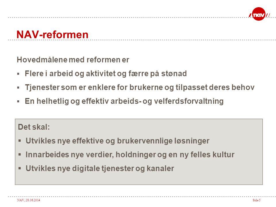 NAV, 28.06.2014Side 5 NAV-reformen Hovedmålene med reformen er  Flere i arbeid og aktivitet og færre på stønad  Tjenester som er enklere for brukern