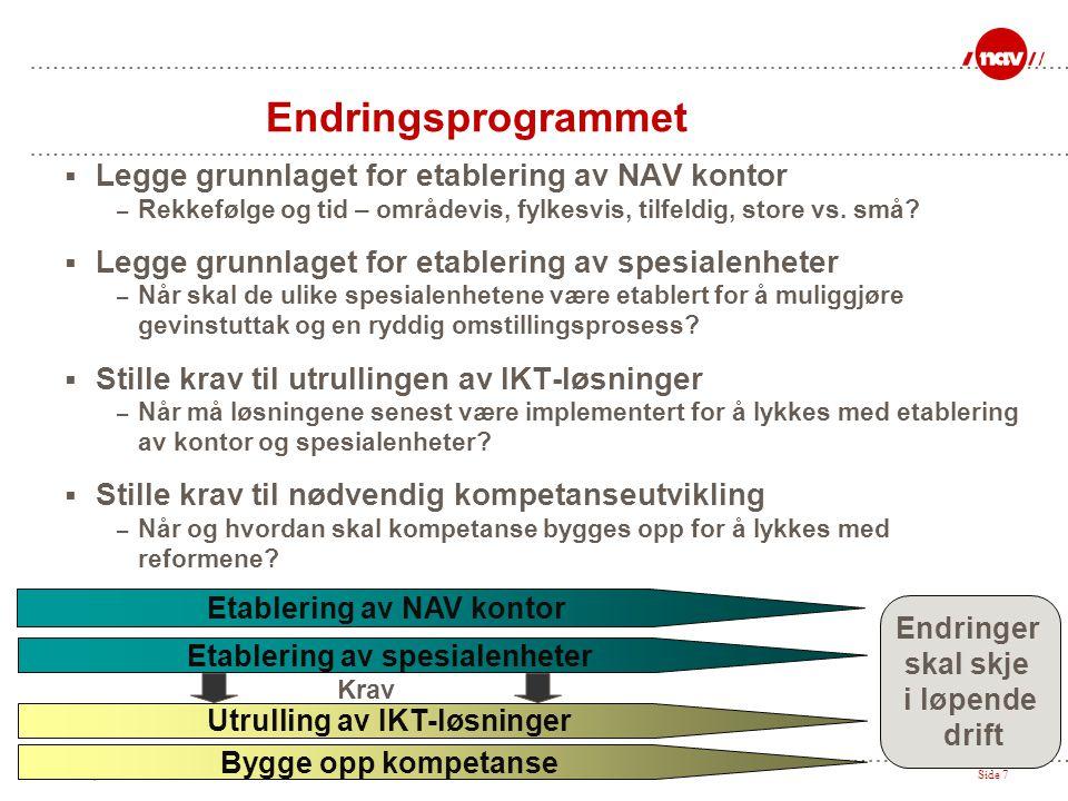 NAV, 28.06.2014Side 7 Endringsprogrammet  Legge grunnlaget for etablering av NAV kontor – Rekkefølge og tid – områdevis, fylkesvis, tilfeldig, store
