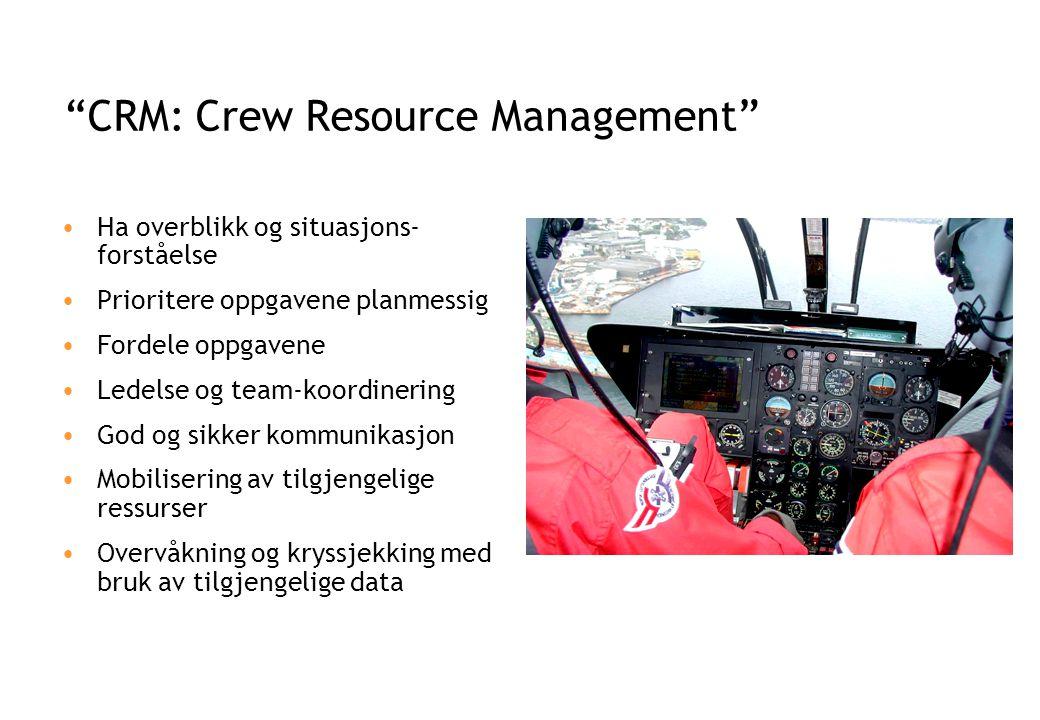 CRM: Crew Resource Management •Ha overblikk og situasjons- forståelse •Prioritere oppgavene planmessig •Fordele oppgavene •Ledelse og team-koordinering •God og sikker kommunikasjon •Mobilisering av tilgjengelige ressurser •Overvåkning og kryssjekking med bruk av tilgjengelige data