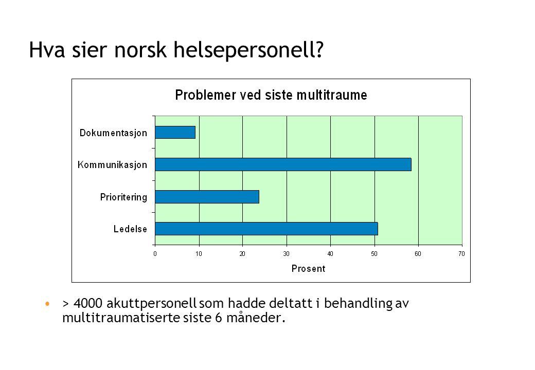 Hva sier norsk helsepersonell? •> 4000 akuttpersonell som hadde deltatt i behandling av multitraumatiserte siste 6 måneder.