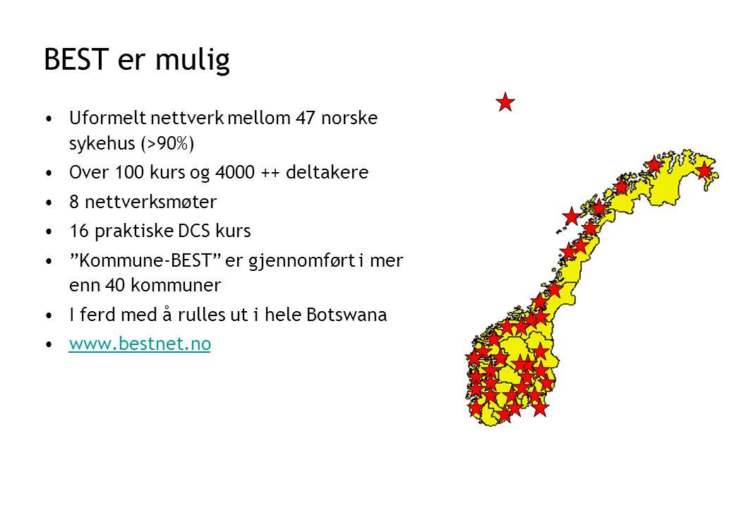 BEST er mulig •Uformelt nettverk mellom 47 norske sykehus (>90%) •Over 100 kurs og 4000 ++ deltakere •8 nettverksmøter •16 praktiske DCS kurs • Kommune-BEST er gjennomført i mer enn 40 kommuner •I ferd med å rulles ut i hele Botswana •www.bestnet.nowww.bestnet.no