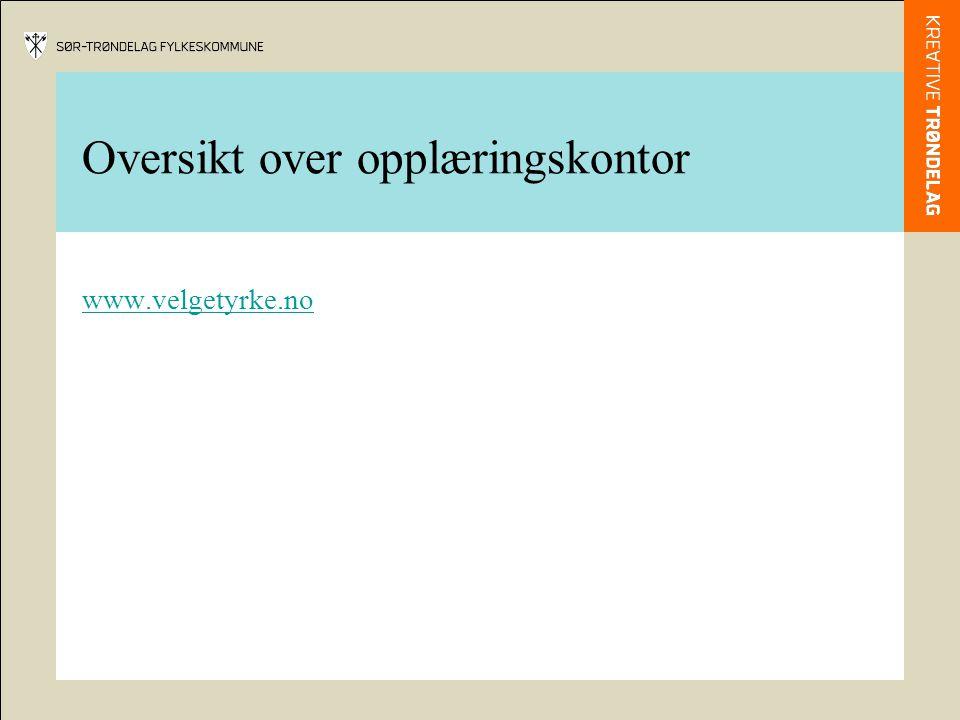 Oversikt over opplæringskontor www.velgetyrke.no
