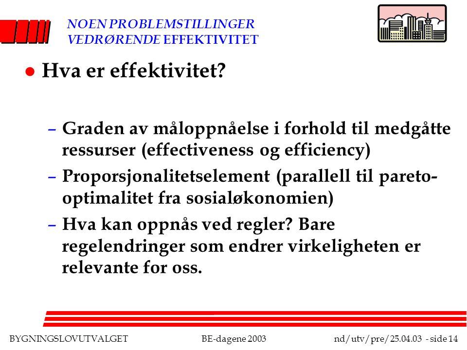 BYGNINGSLOVUTVALGETBE-dagene 2003nd/utv/pre/25.04.03 - side 14 NOEN PROBLEMSTILLINGER VEDRØRENDE EFFEKTIVITET l Hva er effektivitet.
