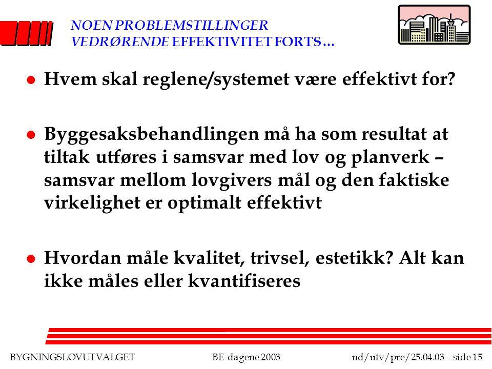 BYGNINGSLOVUTVALGETBE-dagene 2003nd/utv/pre/25.04.03 - side 15 NOEN PROBLEMSTILLINGER VEDRØRENDE EFFEKTIVITET FORTS… l Hvem skal reglene/systemet være effektivt for.