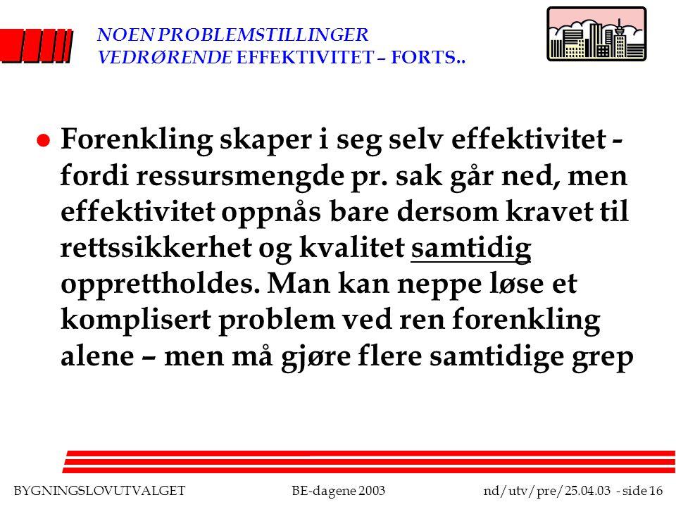 BYGNINGSLOVUTVALGETBE-dagene 2003nd/utv/pre/25.04.03 - side 16 NOEN PROBLEMSTILLINGER VEDRØRENDE EFFEKTIVITET – FORTS..
