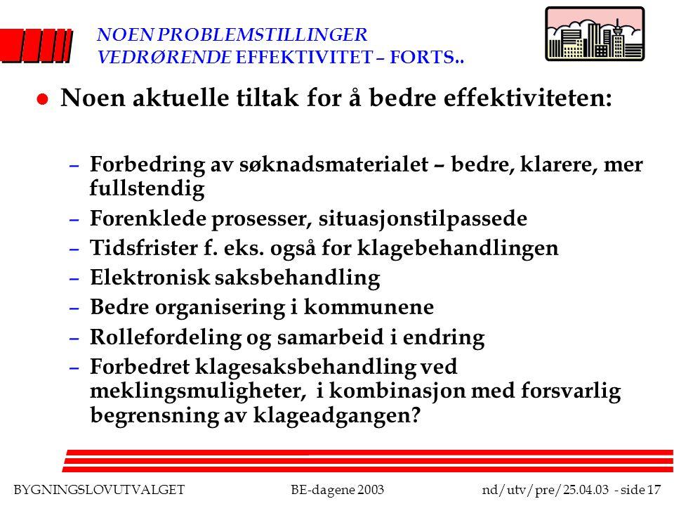 BYGNINGSLOVUTVALGETBE-dagene 2003nd/utv/pre/25.04.03 - side 17 NOEN PROBLEMSTILLINGER VEDRØRENDE EFFEKTIVITET – FORTS..