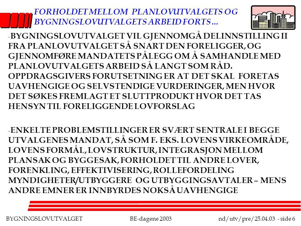 BYGNINGSLOVUTVALGETBE-dagene 2003nd/utv/pre/25.04.03 - side 6 FORHOLDET MELLOM PLANLOVUTVALGETS OG BYGNINGSLOVUTVALGETS ARBEID FORTS… - BYGNINGSLOVUTVALGET VIL GJENNOMGÅ DELINNSTILLING II FRA PLANLOVUTVALGET SÅ SNART DEN FORELIGGER, OG GJENNOMFØRE MANDATETS PÅLEGG OM Å SAMHANDLE MED PLANLOVUTVALGETS ARBEID SÅ LANGT SOM RÅD.