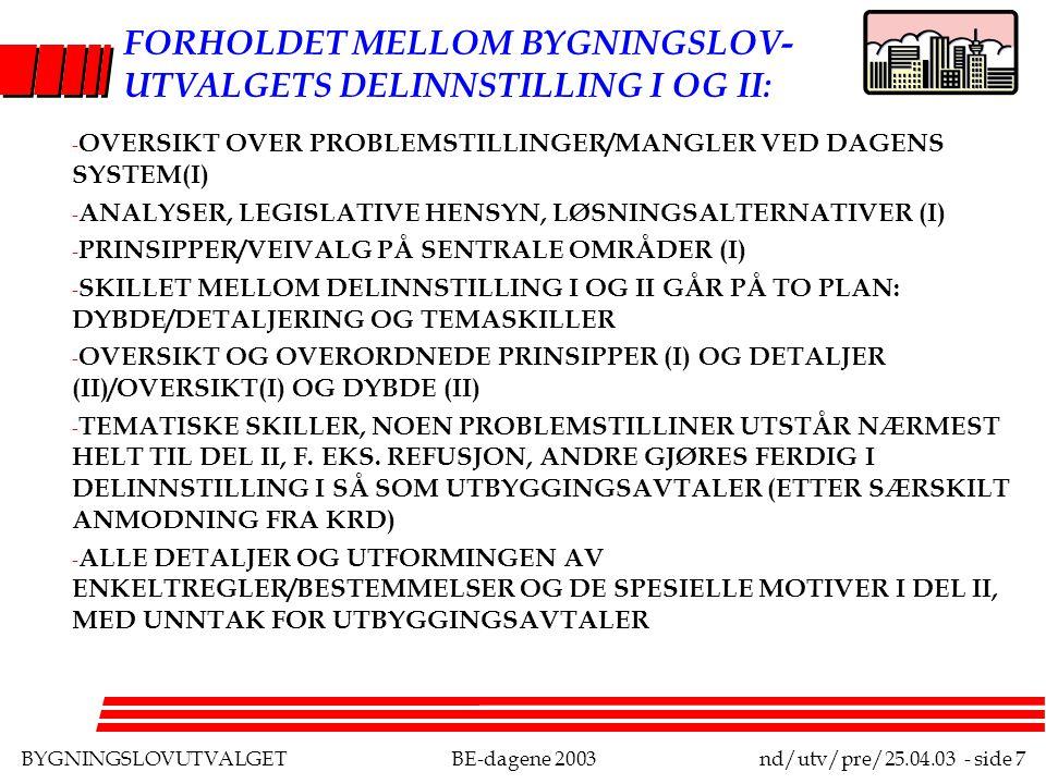 BYGNINGSLOVUTVALGETBE-dagene 2003nd/utv/pre/25.04.03 - side 7 FORHOLDET MELLOM BYGNINGSLOV- UTVALGETS DELINNSTILLING I OG II: - OVERSIKT OVER PROBLEMSTILLINGER/MANGLER VED DAGENS SYSTEM(I) - ANALYSER, LEGISLATIVE HENSYN, LØSNINGSALTERNATIVER (I) - PRINSIPPER/VEIVALG PÅ SENTRALE OMRÅDER (I) - SKILLET MELLOM DELINNSTILLING I OG II GÅR PÅ TO PLAN: DYBDE/DETALJERING OG TEMASKILLER - OVERSIKT OG OVERORDNEDE PRINSIPPER (I) OG DETALJER (II)/OVERSIKT(I) OG DYBDE (II) - TEMATISKE SKILLER, NOEN PROBLEMSTILLINER UTSTÅR NÆRMEST HELT TIL DEL II, F.