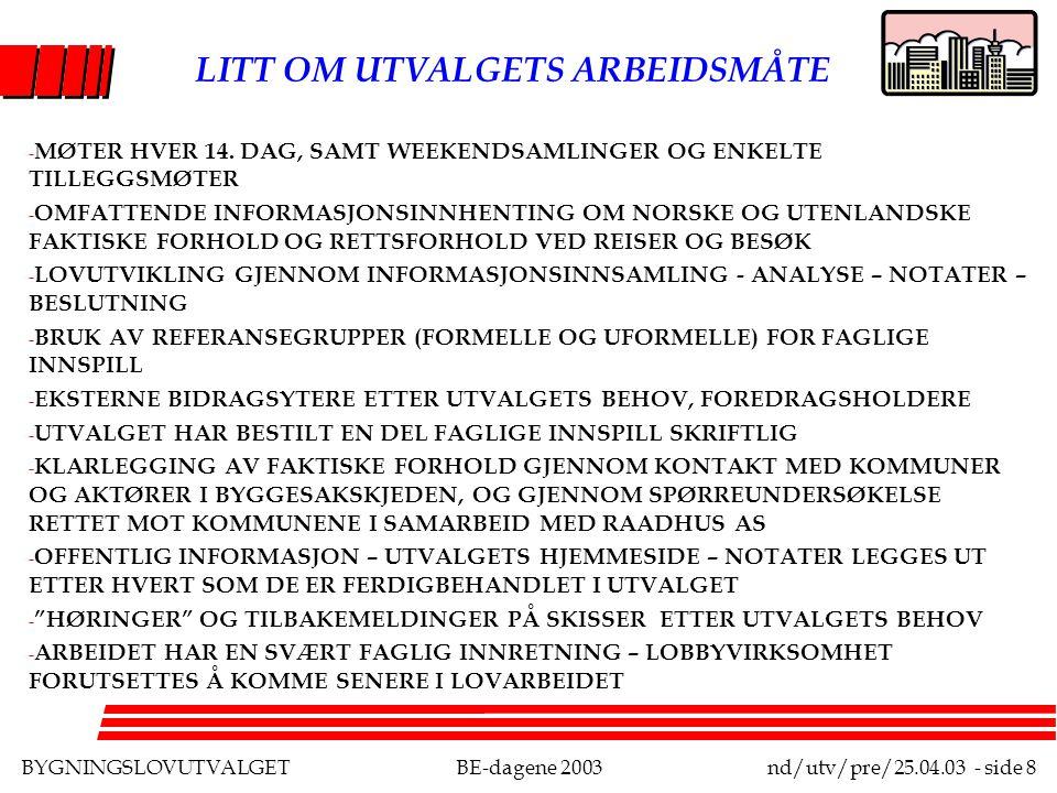 BYGNINGSLOVUTVALGETBE-dagene 2003nd/utv/pre/25.04.03 - side 8 LITT OM UTVALGETS ARBEIDSMÅTE - MØTER HVER 14.