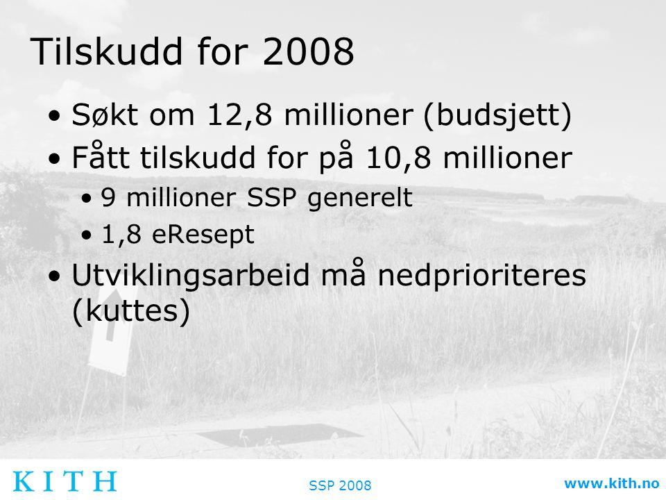 SSP 2008 www.kith.no Tilskudd for 2008 •Søkt om 12,8 millioner (budsjett) •Fått tilskudd for på 10,8 millioner •9 millioner SSP generelt •1,8 eResept •Utviklingsarbeid må nedprioriteres (kuttes)