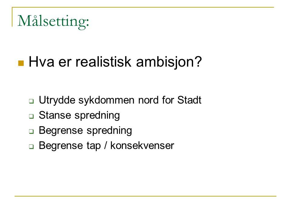 Målsetting:  Hva er realistisk ambisjon?  Utrydde sykdommen nord for Stadt  Stanse spredning  Begrense spredning  Begrense tap / konsekvenser