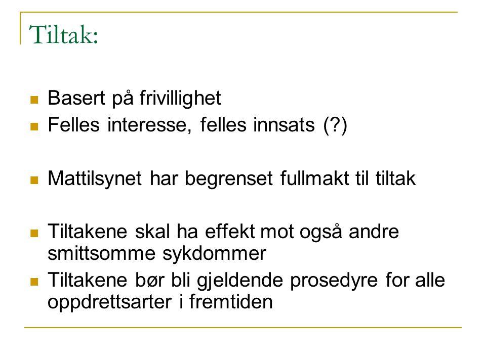 Tiltak:  Basert på frivillighet  Felles interesse, felles innsats (?)  Mattilsynet har begrenset fullmakt til tiltak  Tiltakene skal ha effekt mot