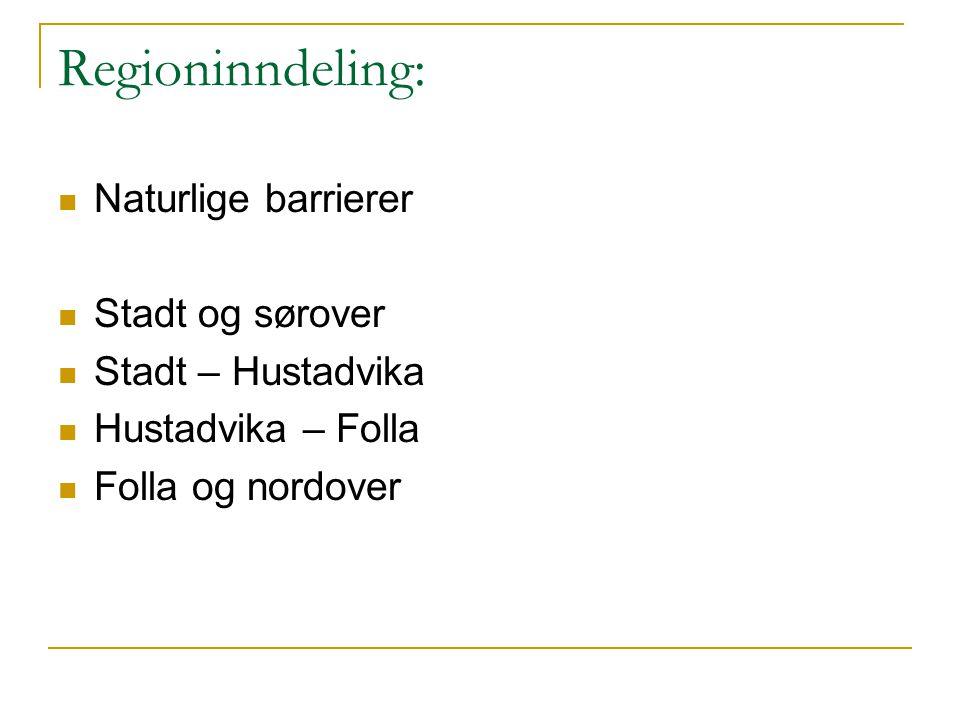 Regioninndeling:  Naturlige barrierer  Stadt og sørover  Stadt – Hustadvika  Hustadvika – Folla  Folla og nordover