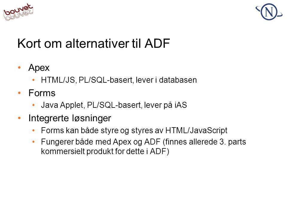 Kort om alternativer til ADF •Apex •HTML/JS, PL/SQL-basert, lever i databasen •Forms •Java Applet, PL/SQL-basert, lever på iAS •Integrerte løsninger •
