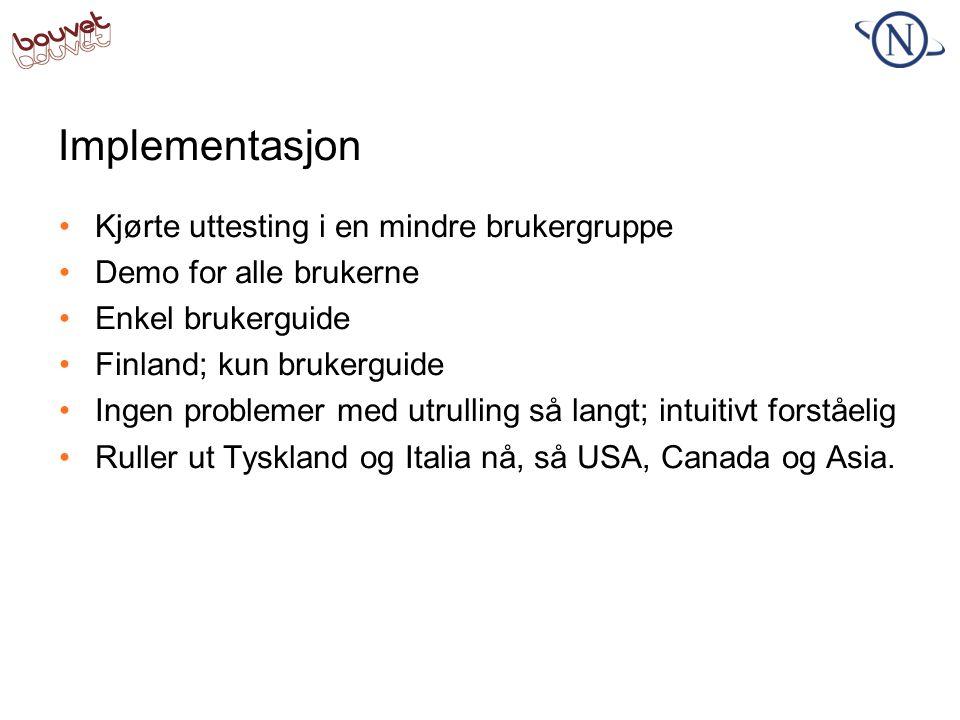 Implementasjon •Kjørte uttesting i en mindre brukergruppe •Demo for alle brukerne •Enkel brukerguide •Finland; kun brukerguide •Ingen problemer med ut