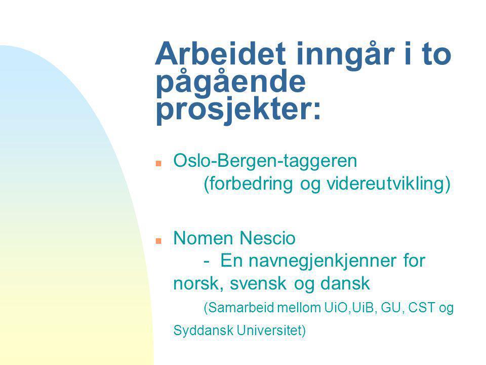Arbeidet inngår i to pågående prosjekter: n Oslo-Bergen-taggeren (forbedring og videreutvikling) n Nomen Nescio - En navnegjenkjenner for norsk, svens