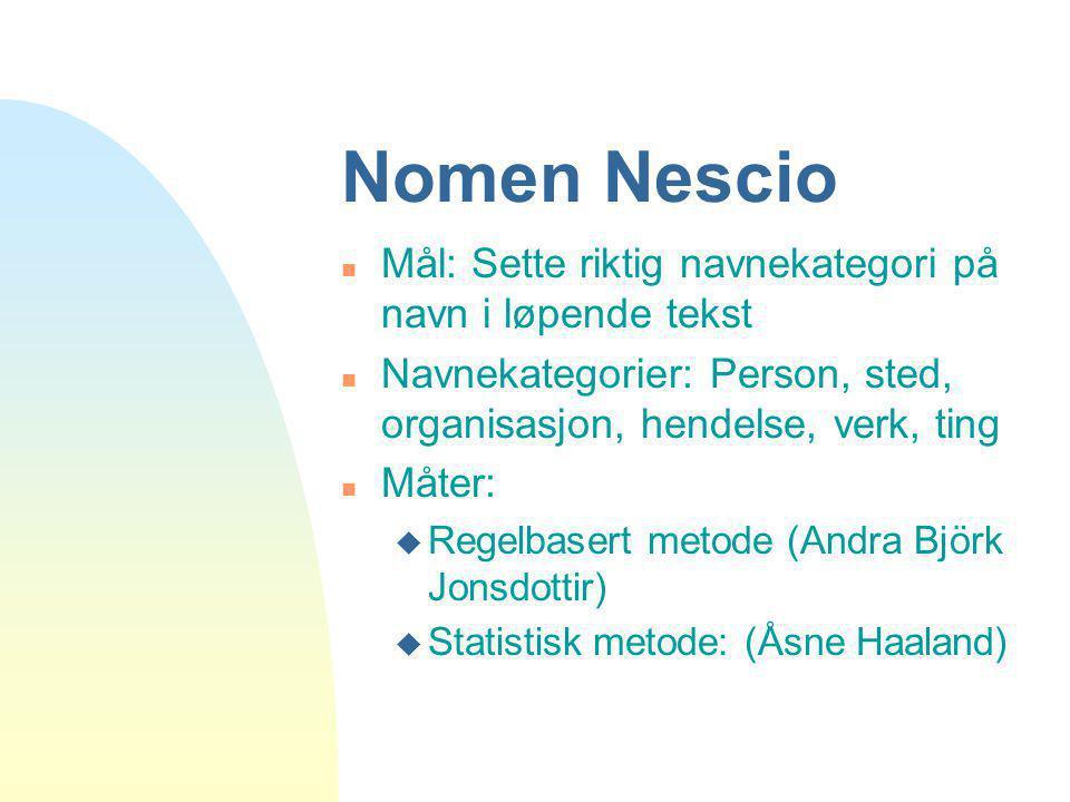 Nomen Nescio n Mål: Sette riktig navnekategori på navn i løpende tekst n Navnekategorier: Person, sted, organisasjon, hendelse, verk, ting n Måter: u