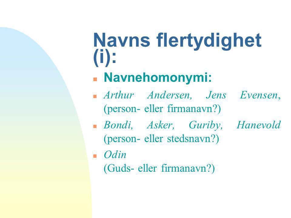 Navns flertydighet (i): n Navnehomonymi: n Arthur Andersen, Jens Evensen, (person- eller firmanavn?) n Bondi, Asker, Guriby, Hanevold (person- eller s