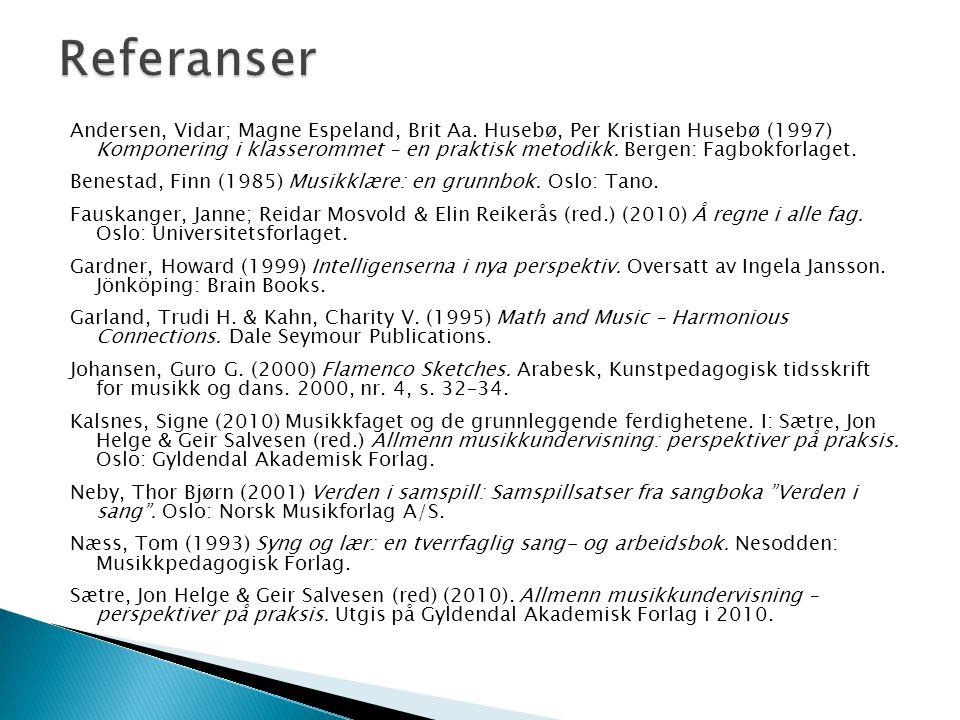 Andersen, Vidar; Magne Espeland, Brit Aa. Husebø, Per Kristian Husebø (1997) Komponering i klasserommet – en praktisk metodikk. Bergen: Fagbokforlaget