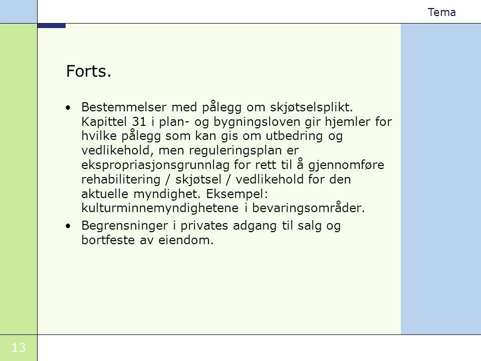 13 Tema Forts. •Bestemmelser med pålegg om skjøtselsplikt. Kapittel 31 i plan- og bygningsloven gir hjemler for hvilke pålegg som kan gis om utbedring