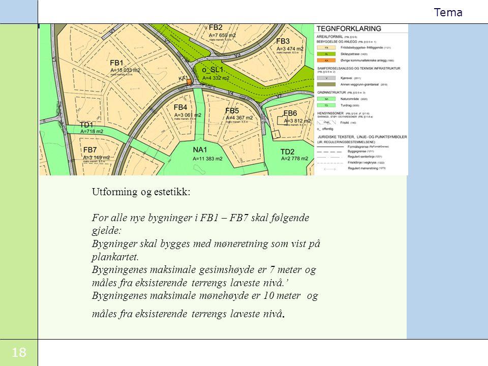 18 Tema Utforming og estetikk: For alle nye bygninger i FB1 – FB7 skal følgende gjelde: Bygninger skal bygges med møneretning som vist på plankartet.