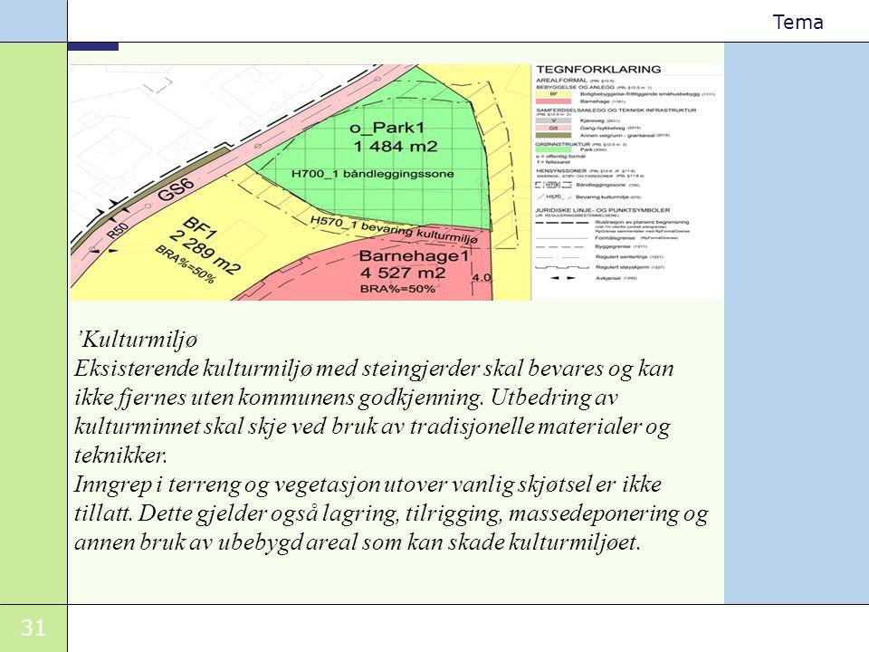 31 Tema 'Kulturmiljø Eksisterende kulturmiljø med steingjerder skal bevares og kan ikke fjernes uten kommunens godkjenning. Utbedring av kulturminnet