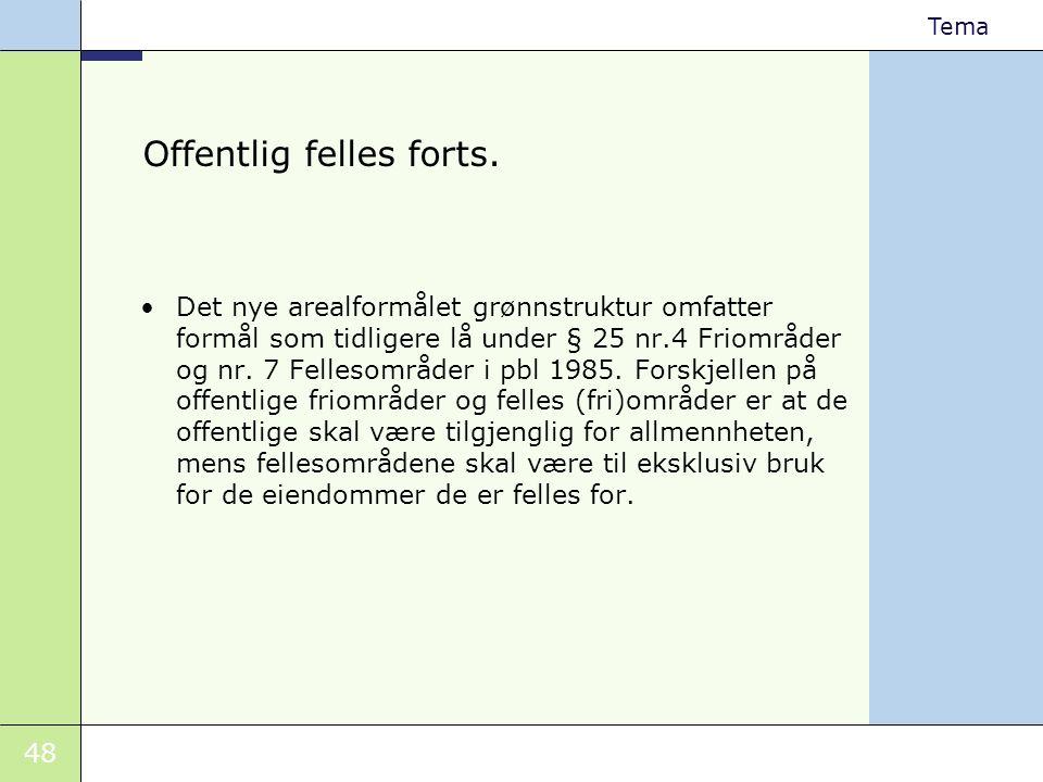 48 Tema Offentlig felles forts. •Det nye arealformålet grønnstruktur omfatter formål som tidligere lå under § 25 nr.4 Friområder og nr. 7 Fellesområde